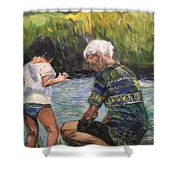 Grandpa And I Shower Curtain by Belinda Low