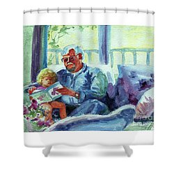 Shower Curtain featuring the painting Grandpa Reading by Kathy Braud