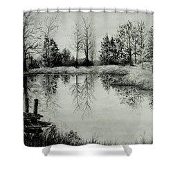 Grandpa's Pond Shower Curtain