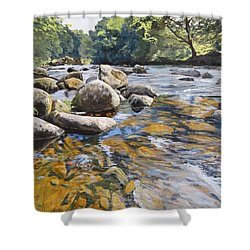 Granite Boulders East Okement River Shower Curtain