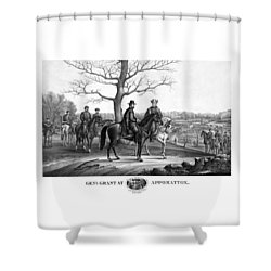 Shower Curtain featuring the mixed media Grant And Lee At Appomattox by War Is Hell Store