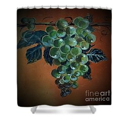 Shower Curtain featuring the ceramic art Grape Cluster 1 by Andrew Drozdowicz