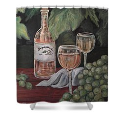 Grape Leaves And Wine Shower Curtain