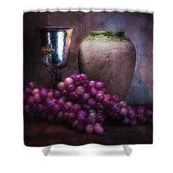 Grapes And Silver Goblet Shower Curtain by Tom Mc Nemar