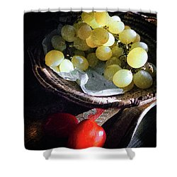 Shower Curtain featuring the photograph Grapes And Tomatoes by Silvia Ganora