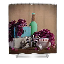 Grapes With Wine Stoppers Shower Curtain by Tom Mc Nemar