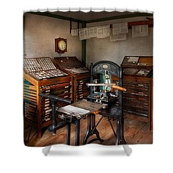 Graphic Artist - The Print Office - 1750  Shower Curtain by Mike Savad