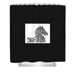 Graphite Horse Shower Curtain