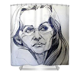 Shower Curtain featuring the drawing Graphite Portrait Sketch Of A Woman With Glasses by Greta Corens