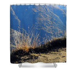Grass In The Foreground, The Main Valley Of The Swiss Canton Of Valais In The Background Shower Curtain