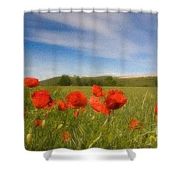 Shower Curtain featuring the photograph Grassland And Red Poppy Flowers by Jean Bernard Roussilhe