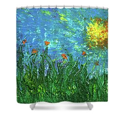 Grassland With Orange Flowers Shower Curtain by Erik Tanghe