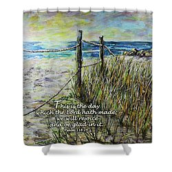 Grassy Beach Post Morning Psalm 118 Shower Curtain