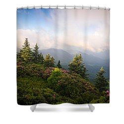 Grassy Ridge Rhododendron Bloom Shower Curtain by Serge Skiba