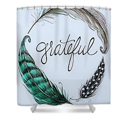 Grateful Shower Curtain by Elizabeth Robinette Tyndall