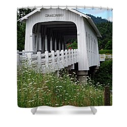Grave Creek Bridge Shower Curtain by Methune Hively