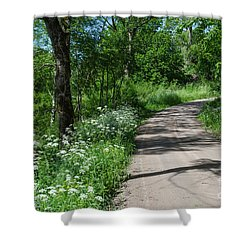 Shower Curtain featuring the photograph Gravel Road With Summer Feeling by Kennerth and Birgitta Kullman