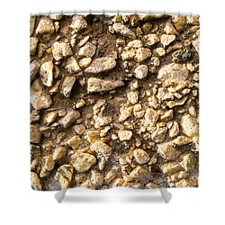 Shower Curtain featuring the photograph Gravel Stones On A Wall by John Williams