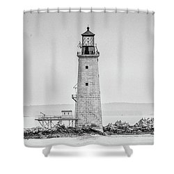Graves Lighthouse- Boston, Ma - Black And White Shower Curtain