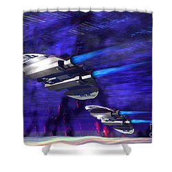 Gravitational Forces Shower Curtain by Corey Ford