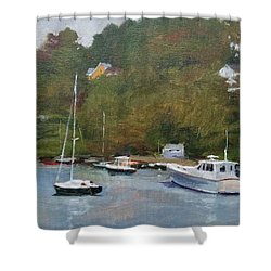 Gray Afternoon At Rockport Harbor Shower Curtain by Peter Salwen