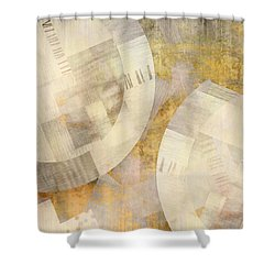 Gray And Yellow Composition  - Abstract Art Shower Curtain