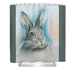 Shower Curtain featuring the pastel Gray Bunny Rabbit On Blue by MM Anderson