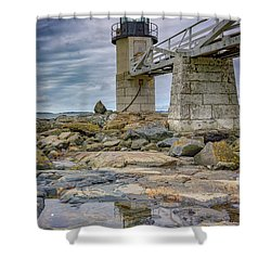 Shower Curtain featuring the photograph Gray Day At Marshall Point by Rick Berk