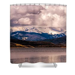 Gray Skies Over Lake Granby Shower Curtain
