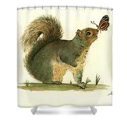 Gray Squirrel Butterfly Shower Curtain