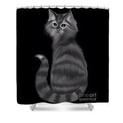 Shower Curtain featuring the painting Gray Striped Cat by Nick Gustafson
