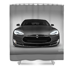 Gray Tesla Model S Luxury Electric Car Front View Shower Curtain