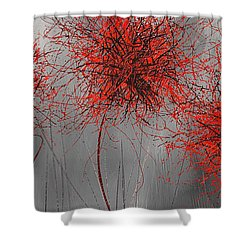 Grayish Vibrant Blooms- Red And Gray Modern Art Shower Curtain by Lourry Legarde