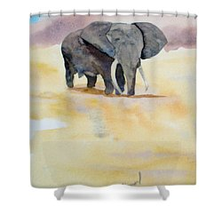 Shower Curtain featuring the painting Great African Elephant  by Vicki  Housel