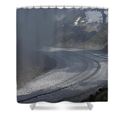 Great Aletsch Glacier In The Clouds. Canton Of Valais, Switzerland. Shower Curtain