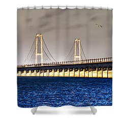 Shower Curtain featuring the photograph Great Belt Bridge by Gert Lavsen