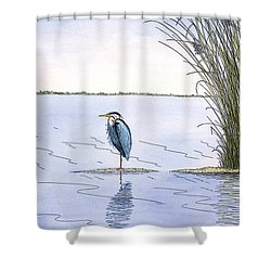 Great Blue Heron Shower Curtain by Charles Harden