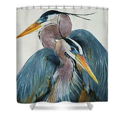 Great Blue Heron Couple Shower Curtain