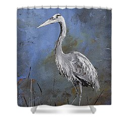 Great Blue Heron In Blue Shower Curtain by Carolyn Doe