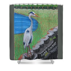 Great Blue Heron In Front Of Orchard Shower Curtain