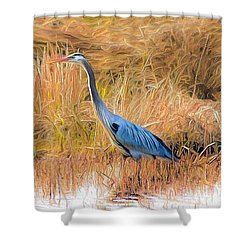 Great Blue Heron Shower Curtain by Marion Johnson