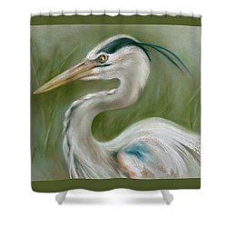 Shower Curtain featuring the pastel Great Blue Heron by MM Anderson