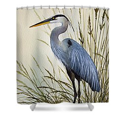 Great Blue Heron Shore Shower Curtain