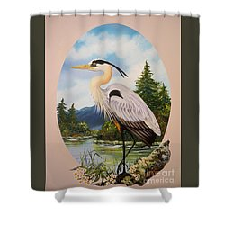 Flying Lamb Productions                 Great Blue Heron Shower Curtain