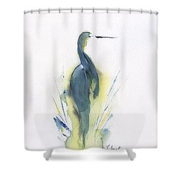 Blue Heron Turning Shower Curtain