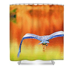 Shower Curtain featuring the digital art Great Blue Heron Winging It Photo Art by Sharon Talson