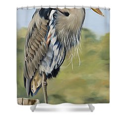 Great Blue Heron Standing Shower Curtain