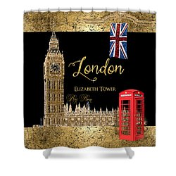 Great Cities London - Big Ben British Phone Booth Shower Curtain