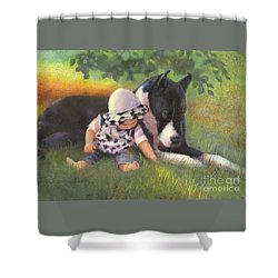 Shower Curtain featuring the painting Great Dane With Baby by Nancy Lee Moran