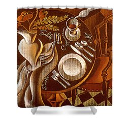 Shower Curtain featuring the painting Great Dining by Leon Zernitsky